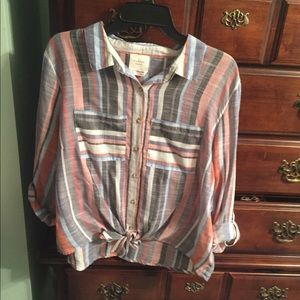 Stripe button blouse